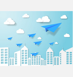 plane flying on blue sky with cloud and building vector image