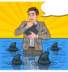 Pop Art Helpless Businessman Swimming with Sharks vector image