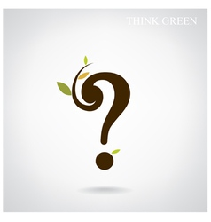 Question mark and think green concept vector image