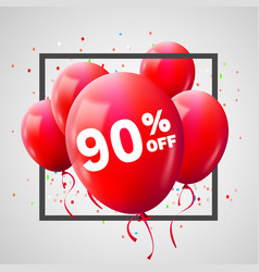 Red balloons discount frame sale concept for shop vector