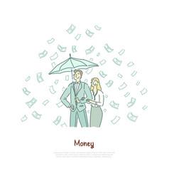 rich couple with umbrella successful vector image