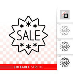 sale banner simple black line ad tag icon vector image