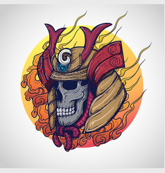 Samurai warrior skull tattoo design vector