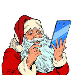 Santa claus and a big smartphone electronic vector