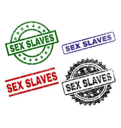 Scratched textured sex slaves seal stamps vector