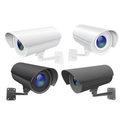 Security camera set white and black cctv vector