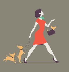 Silhouette of woman with dog young woman vector