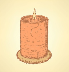 Sketch cute candle in vintage style vector image vector image