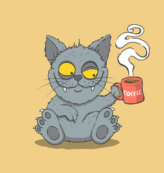 Sleepy cat drinks coffee in the morning vector