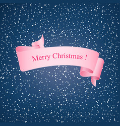 snowflakes in the night sky and pink ribbon vector image