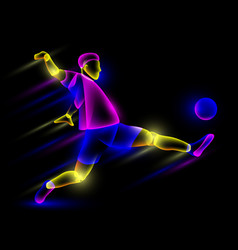 soccer player hits the soccer ball vector image