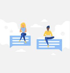 social network chat conversation concept woman vector image