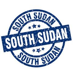 South sudan blue round grunge stamp vector