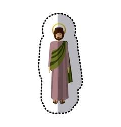 Sticker standing saint josepf father vector