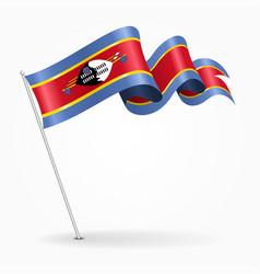 swaziland pin wavy flag vector image