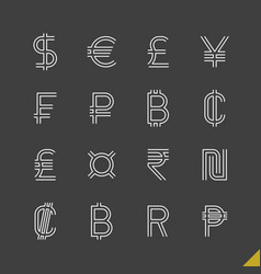 thin linear world currency symbols icons set vector image