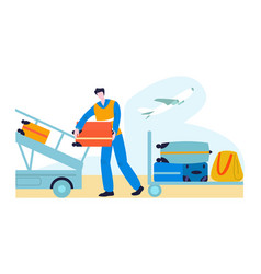 tourist in airport with baggage traveling journey vector image