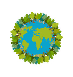 trees and earth planet and forest earthly nature vector image