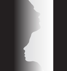 Two abstract one line silhouettes of people vector