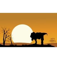 tyrannosaurus with sun scenery vector image