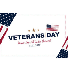 veterans day greeting card with usa flag on white vector image