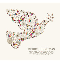Vintage Christmas peace dove greeting card vector