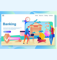 web page design template for internet banking and vector image