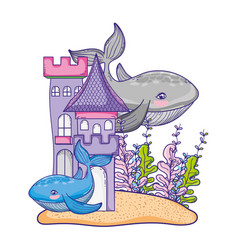 whale couple animal with castle and seaweed plants vector image
