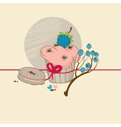 Fruit cupcake vector image
