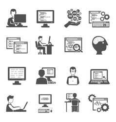 Programmer Icons Set vector image vector image