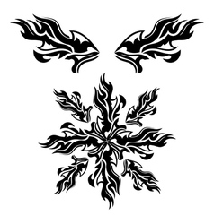 Set of black tribal elements vector image