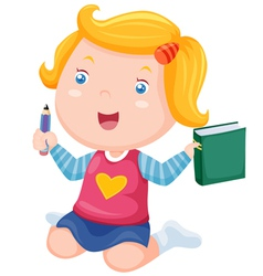 Cute girl ready back to school vector image vector image