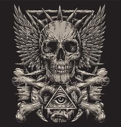 Heavy Metal inspired Skull Design vector image vector image
