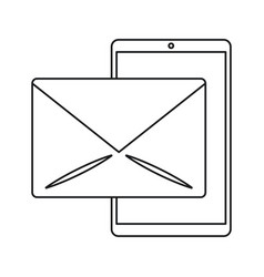smartphone email message mail line vector image