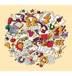 Creative doodles idea brainstorm color vector image