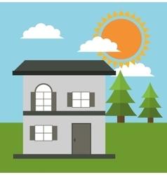 Family house cottage energy eco solar vector