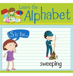 Flashcard letter S is for sweeping vector image