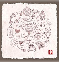 japan doodle sketch elements on vintage rice paper vector image