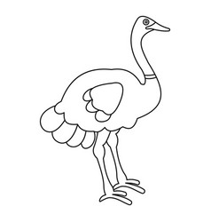 ostrich icon outline style vector image vector image