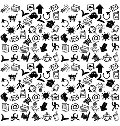 Business icons doodles black and white seamless vector image vector image