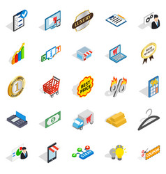 Financial center icons set isometric style vector