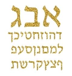 Golden alphabet Hebrew Font Gold plating The vector image vector image