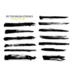 Grunge ink brush stroke set Abstract freehand vector image