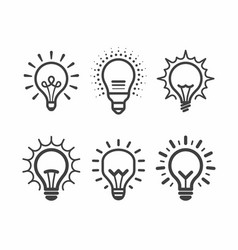 Lit light bulb icons set vector