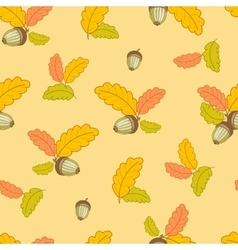 pattern with small oak leaves and acorns-01 vector image vector image