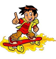 Skateboarder On Fire vector image