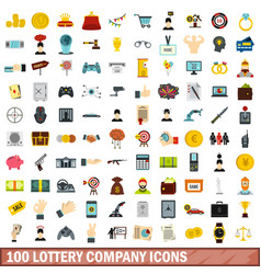 100 lottery company icons set flat style vector image