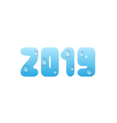 2019 blue water numbers vector image