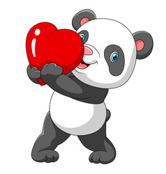 a cute panda with red heart vector image