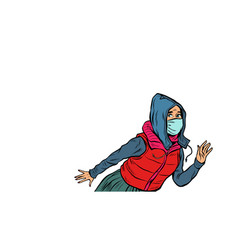 A woman in medical mask panic andemic epidemic vector